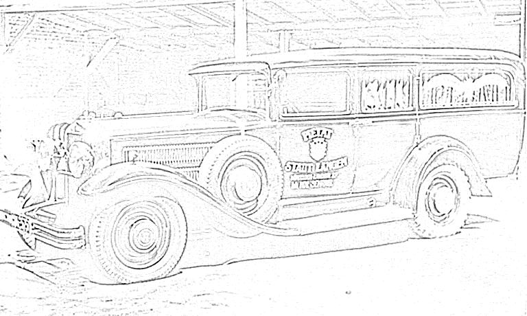 Leichenwagen Oldtimer Pietät Sehring Zeichnung